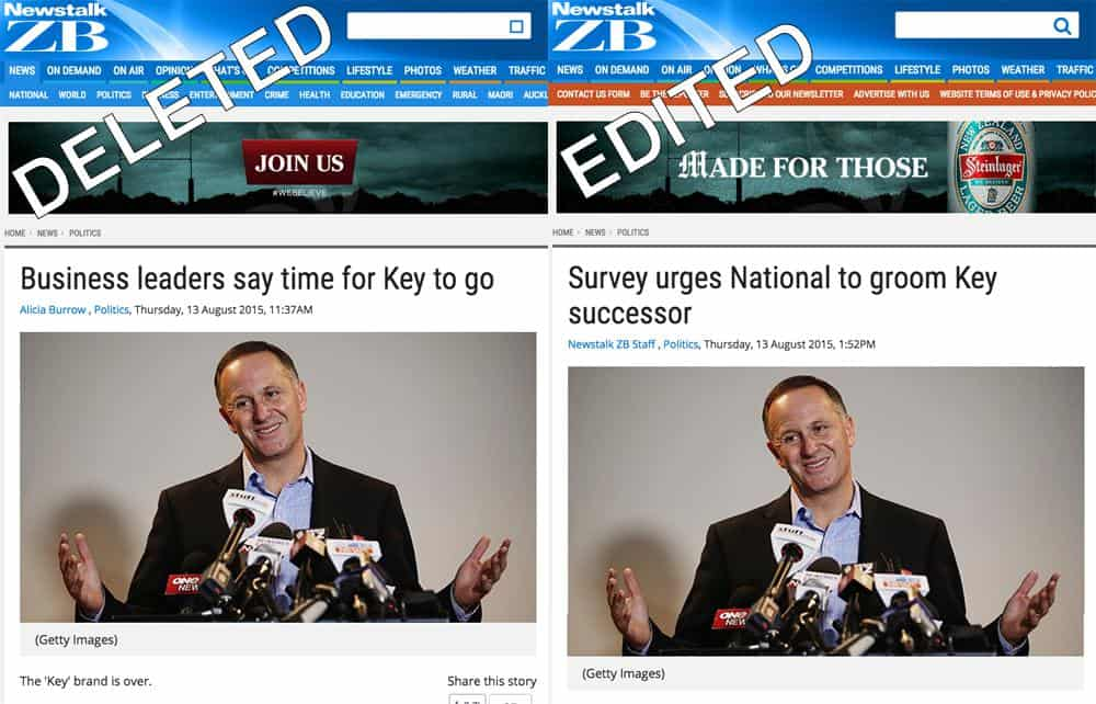 Newstalk ZB John Key news article - before and after