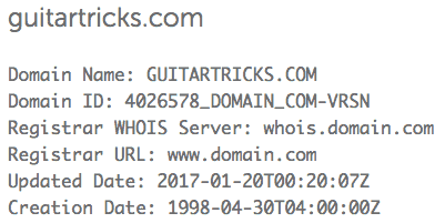 guitartricks.com whois search